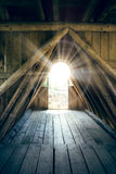 Wooden passage with light Stock Photos