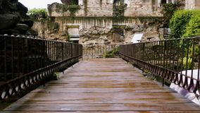 Wooden passageway that leads to historical ruins stock video