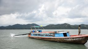 Wooden passenger ship ride a boat mooring at Koh Yao Noi boats Harbour stock video