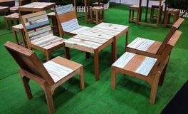 Wooden pastel table and chair Stock Images