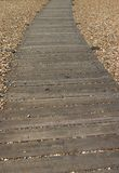 Wooden path. Path of wooden sleepers running between pebbles on a beach stock images