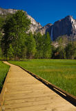 Wooden path. A wooden path leading to a waterfall Royalty Free Stock Images
