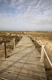 Wooden path. Leading to the beach; people walking around Stock Image