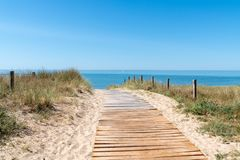 Free Wooden Path Access In Sand Dune Beach In Vendee On Noirmoutier Island In France Stock Photos - 153722813
