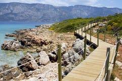 Wooden path on beach Stock Photo