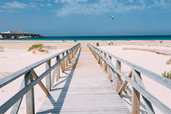 Wooden Path The Beach In Tarifa, Andalusia, Spain Stock Photography
