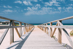 Wooden Path The Beach In Tarifa, Andalusia, Spain Royalty Free Stock Photography
