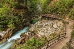Wooden path in canyon,Vintgar Gorge,Slovenia,Europe. Cascades on the Radovna River,Vintgar Gorge,Slovenia,Europe Stock Photography