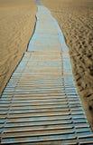 Wooden path in Falasarna beach Stock Photo