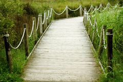 Wooden path. On a green meadow royalty free stock photo
