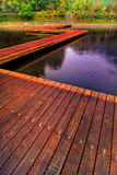 Wooden path on lake  Royalty Free Stock Images