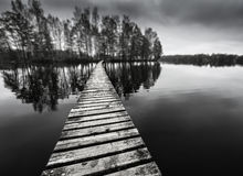 Wooden path on a lake Royalty Free Stock Photography