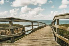 Wooden path leading to the beach of the cathedrals of Ribadeo, s Stock Images