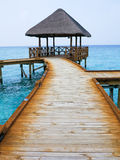 Wooden path leading to gazebo Royalty Free Stock Images