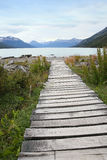 Wooden path leading to lake Royalty Free Stock Photography