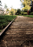 Wooden path. This path is located behind the monumental mausoleum built in honor of Cicero, in the twon of Formia - Italy Stock Photo