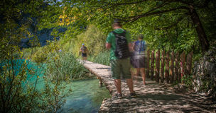 Wooden path in National Park in Plitvice Royalty Free Stock Photography