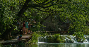 Wooden path in National Park in Plitvice Royalty Free Stock Images