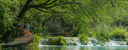 Wooden path in National Park in Plitvice Stock Images