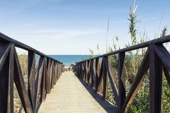 Wooden path ouver  dunes to the beach Stock Photo
