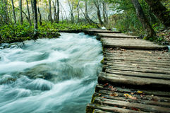 Wooden path over the waterfall Stock Images
