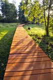 Wooden path through park Stock Images