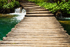 Wooden path in Plitvice Lakes National Park, Croatia Stock Photos