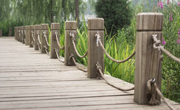 Wooden path. With railing in the park Stock Image