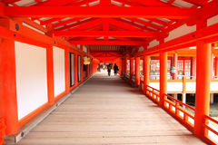 Wooden path in red shrine Royalty Free Stock Photos