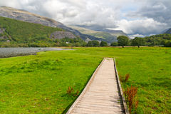 Wooden path in Snowdonia, Wales, UK Stock Photography