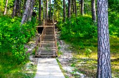 Wooden path and stairs. Near Baltic see, Olando kepure place Stock Images