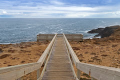 Wooden path and stairs to Blowholes viewpoint at Cape Bridgewate Royalty Free Stock Photos
