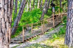 Wooden path and stairs. Near Baltic see, Olando kepure place Stock Photography
