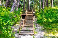 Wooden path and stairs. Near Baltic see, Olando kepure place Royalty Free Stock Photo
