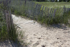 Wooden path to beach. A rustic wooden path surrounded by a fence leads to a lake beach Royalty Free Stock Photography