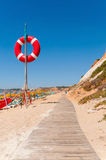 Wooden path to Falesia Beach in Portugal Stock Image