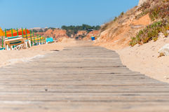 Wooden path to Falesia Beach in Portugal Stock Images