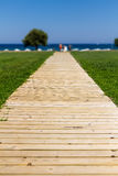 Wooden path to the sea - Summer vacation background Royalty Free Stock Photography