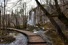 Wooden path trough the lakes Royalty Free Stock Images