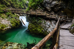 Wooden path in Vintgar gorge, Bled, Slovenia Stock Photography