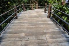 Wooden path walkway over garden Stock Photo