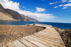 Wooden path walkway in Teno coast, Tenerife, Canary island, Spain. Stock Image
