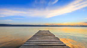 Wooden path in the water.  Stock Images