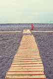 Wooden paths at the sea beach Royalty Free Stock Photo