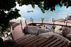 Wooden pathway. At Koh Tao island stock photos