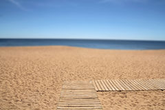 Wooden pathway on the beach Royalty Free Stock Photo