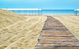 Wooden pathway on the beach Royalty Free Stock Photography
