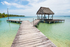 Wooden pathway on Caribbean sea in Panama Stock Images