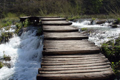 Wooden Pathway In Plitvice Lakes Royalty Free Stock Photos