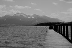 Wooden pathway on lake banks with mountain view Royalty Free Stock Photography